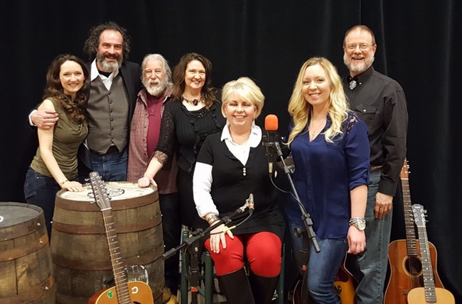 The cast of the April 1 Red Barn Radio broadcast