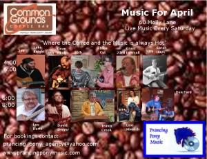 Common Grounds, Nashville, Ind., April music line up